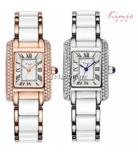 Eyki Kimio KW6036S Women's Classic Rectangle Rhinestones Roman Numeral Stainless steel Watch