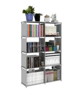 Multifunctional & Portable DIY Book Storage Rack 5 Tier with 8 Columns (Grey)