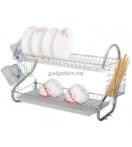 Stainless Steel Double Dish Drainer (Silver)