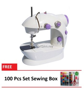 4 in 1 Dual Speed Portable Handheld Mini Sewing Machine (Purple) FREE 100 Pcs Set Sewing Box