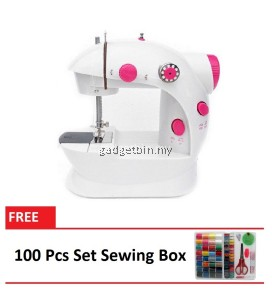 4 in 1 Dual Speed Portable Handheld Mini Sewing Machine (Red) FREE 100 Pcs Set Sewing Box