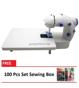 4 in 1 Dual Speed Portable Handheld Mini Sewing Machine With Expansion Board (Purple) FREE 100 Pcs Set Sewing Box