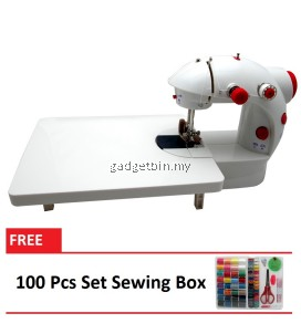 4 in 1 Dual Speed Portable Handheld Mini Sewing Machine With Expansion Board (Red) FREE 100 Pcs Set Sewing Box