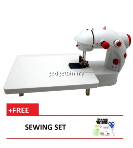 4 in 1 Dual Speed Portable Handheld Mini Sewing Machine With Expansion Board (Red) FREE Sewing Set
