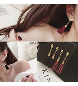 YOUNIQ-Basic Korean Black/Red Long Tassel Earring- 2 color option