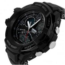 SKMEI 1017 Men's Military Dual time Date Calendar LED Sports Watch (Black)