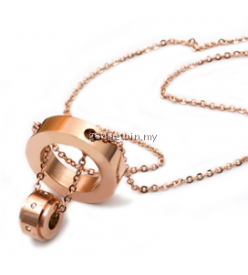 B DOUBLE 18K Rosegold Plated Titanium Necklace