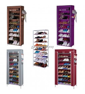 Stackable Shoe Cabinet 10 Tier 9 Column Shoe Rack with Dust Cover