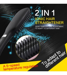 2 In 1 LCD PTC Heating + Ionic Electric Fast Hair Straightener Comb