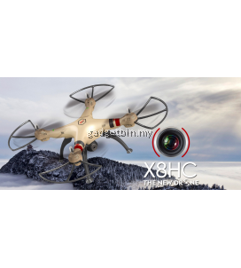 Syma X8HC With 2MP HD Camera 2.4G 4CH 6Axis Altitude Hold Headless Mode RC Quadcopter (Gold)