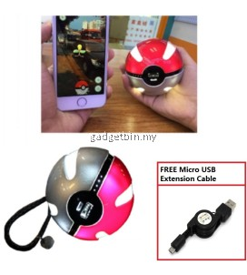 Pokemon Go Pokeball Shape 10000mAh Power Bank USB LED External Battery Charger