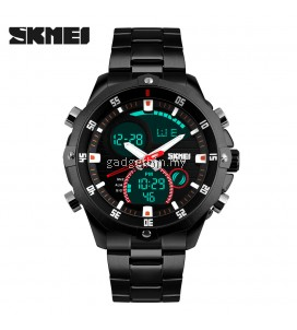 SKMEI 1146 Men's Military Sport Dual Movement Digital LED Calendar Alarm Stainless Steel Watch