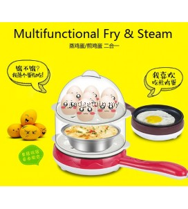 Multifunctional Double Layer Mini Electric Frying Pan Egg Cooker Fried Egg Boiler Steamer