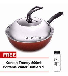 32cm Classic Nonstick Wok Frying Pan with Lid Induction Cookware Set Free Water Bottle MyBottle