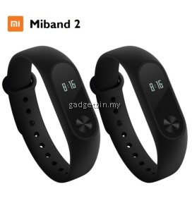 (Bundle) 2 Units of Xiaomi Miband 2 Heart Rate Touch OLED Bluetooth Smartband Wristband (Black)