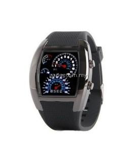 Korea Design LED Watch Car Racing RPM Speedometer Watch (BLACK)
