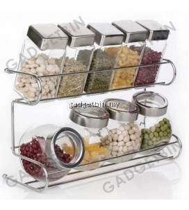 2 Tier Spice Rack With Cylindrical & Round Jars