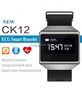 CK12 Electrocardiogram(ECG) Monitor Blood Pressure Heart Rate Monitor Smart Watch (Black)