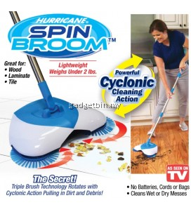 Hurricane Spin Broom Cordless Triple-Brush Technology Cyclonic Sucking Without Electricity