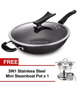 32cm Marble Stone Nonstick Wok Frying Pan with Glass Lid Induction Cookware Set (Black) FREE Mini Steamboat Pot