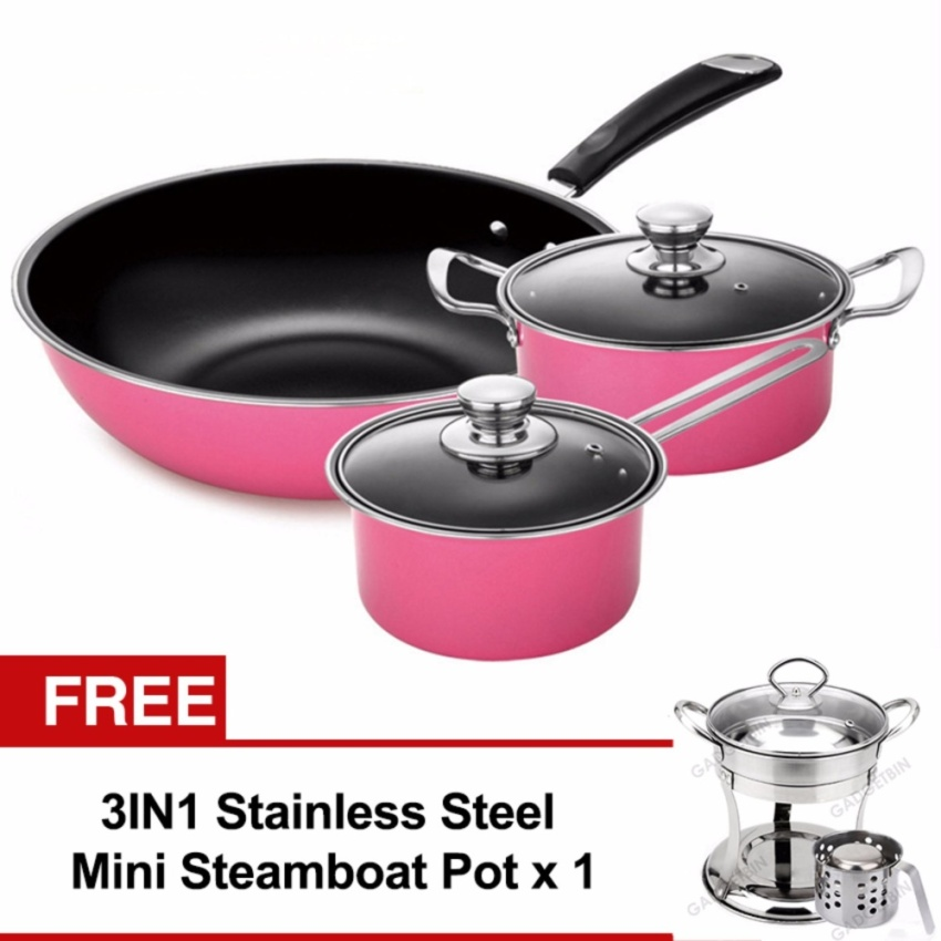 5pcs Nonstick Cookware Wok Frying Pan, Pot Induction Cookware Set (Pink) FREE Mini Steamboat Pot