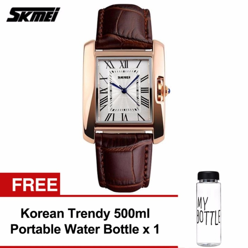 SKMEI 1085 Ladies's Classic Rectangle Dial Leather Watch (Gold Brown) FREE Water Bottle MyBottle