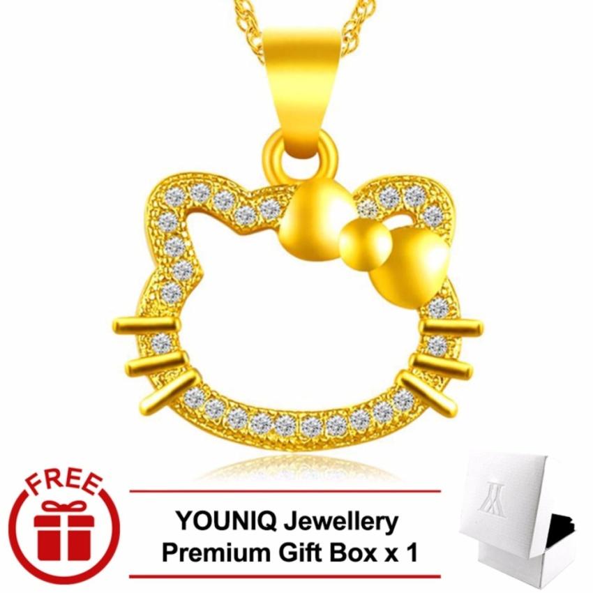 YOUNIQ Premium Diamond Kitty 24K Gold Plated Pendant