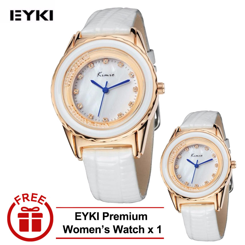 [ BUY 1 FREE 1 ] Eyki Kimio KW512 Ladies Gold-plated White Leather Watch