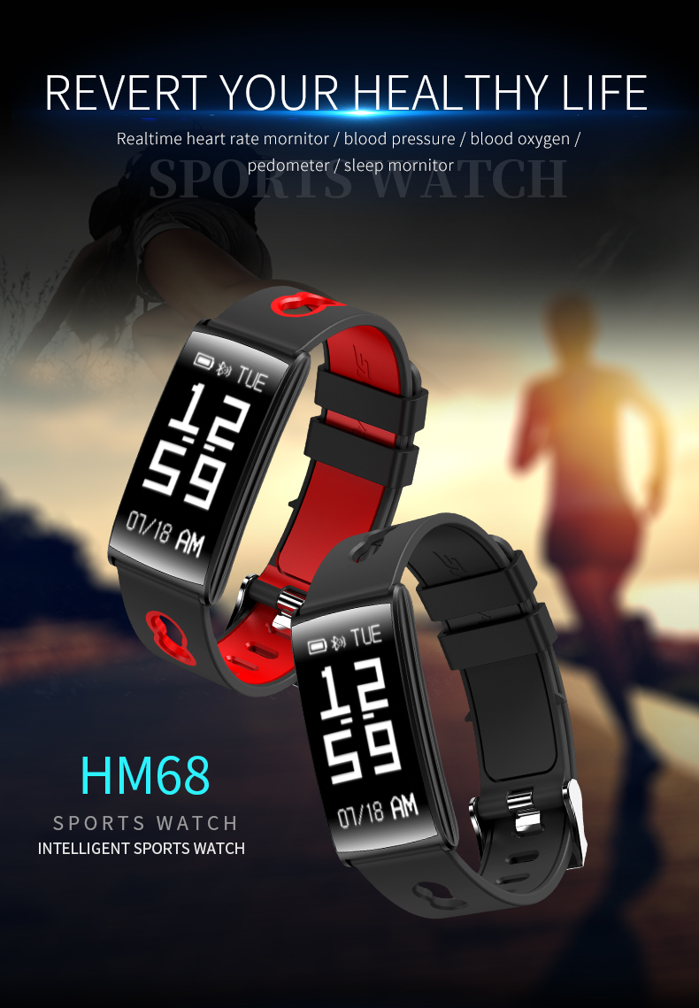 HM68 Heart Rate Blood Pressure Monitor Fitness Tracker Smart band