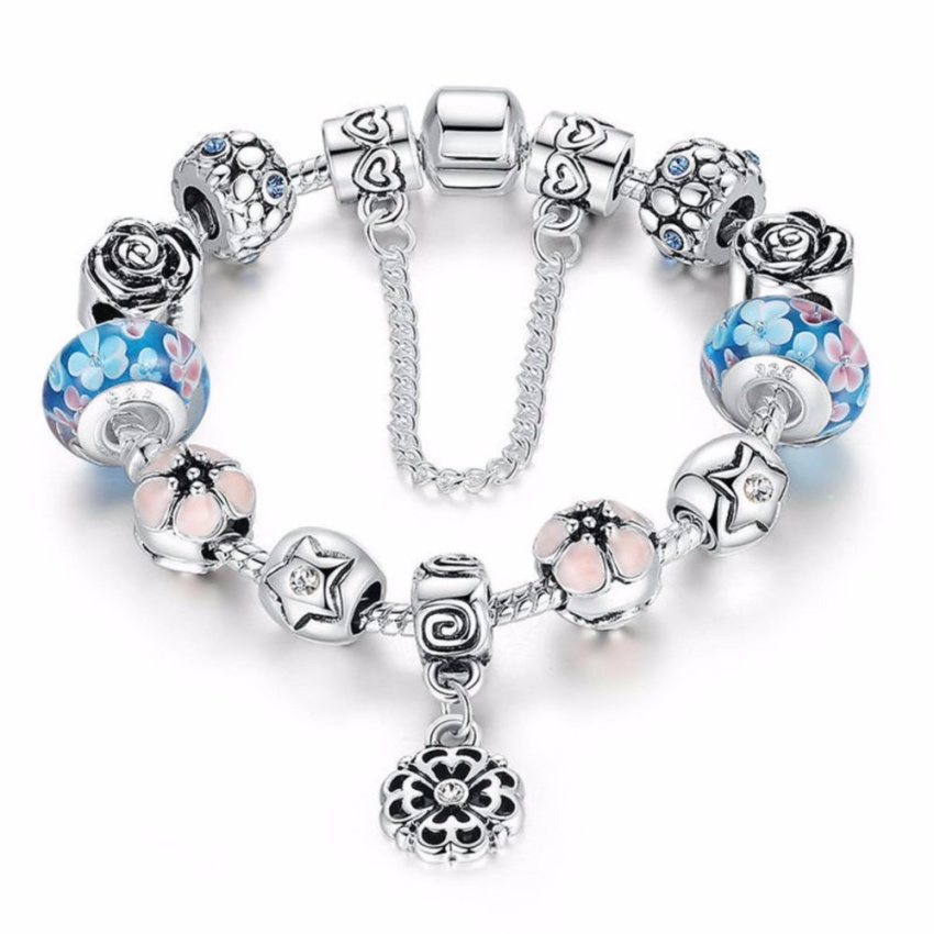 YOUNIQ 925S Silver Charm Bracelet with Murano Glass European Style Sweet Blue Charm Beads for Her Gift PA1833