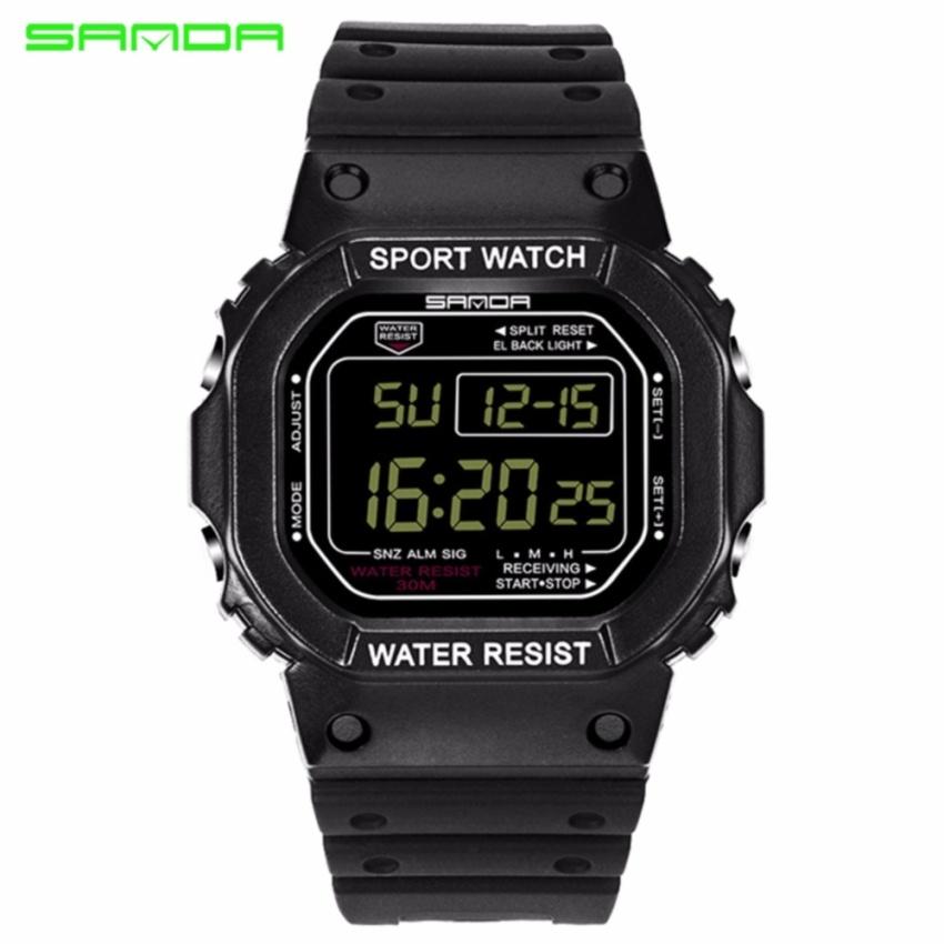 Original SANDA 293 Classic C Style Waterproof Outdoor Sports Women Shockproof Digital Watch (Full Black)