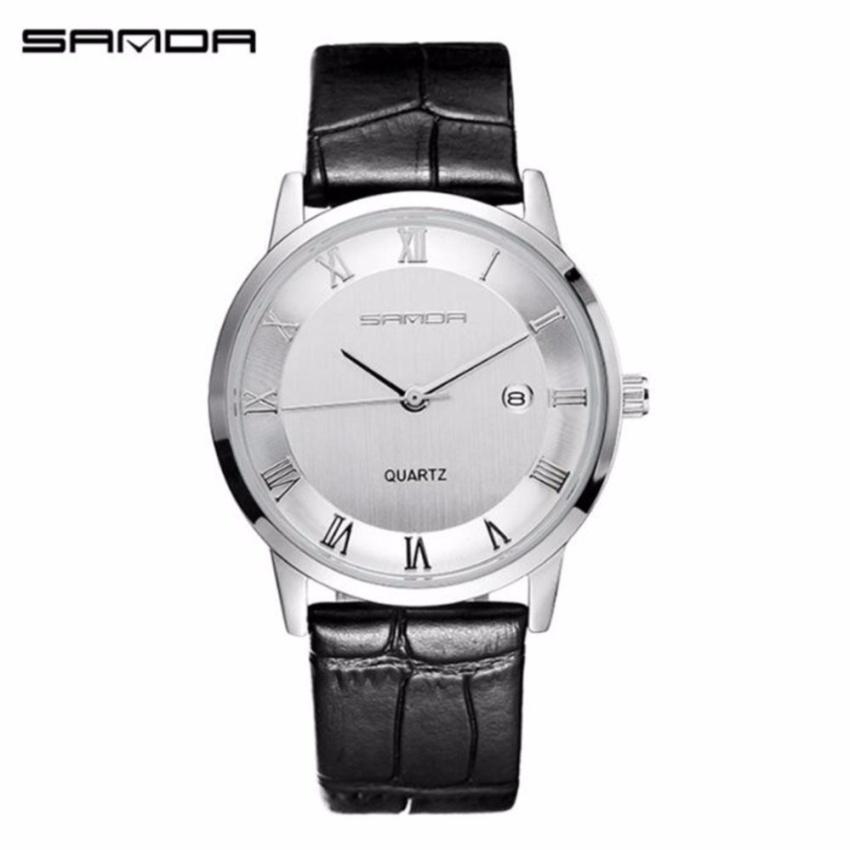 SANDA P188L Genuine Leather Black Band Date Display Quartz Watch for Women