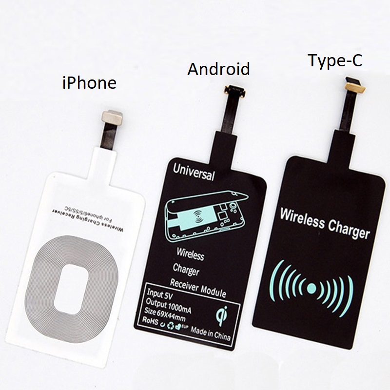 Qi Wireless Receiver (Wireless Charging) For iPhone Android Type-C Phone