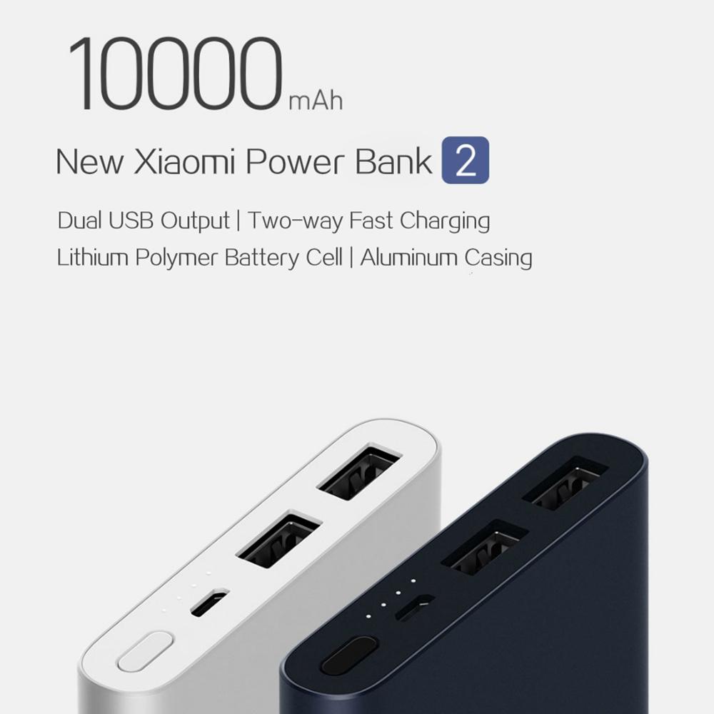 Xiaomi New Power Bank 2 10000mAh Dual USB Ports Two-way Quick Charge
