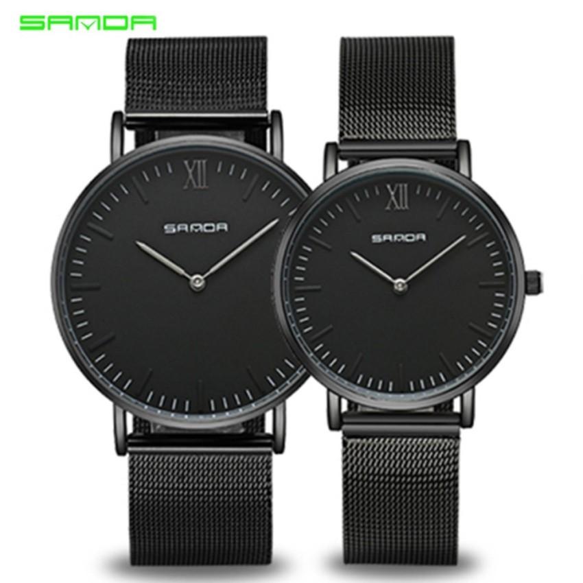 Original SANDA 208 Luxury Ultra Thin Stainless Steel Quartz Couple Watch (Full Black)