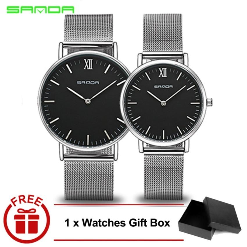 Original SANDA 208 Luxury Ultra Thin Stainless Steel Quartz Couple Watch (Silver Black)