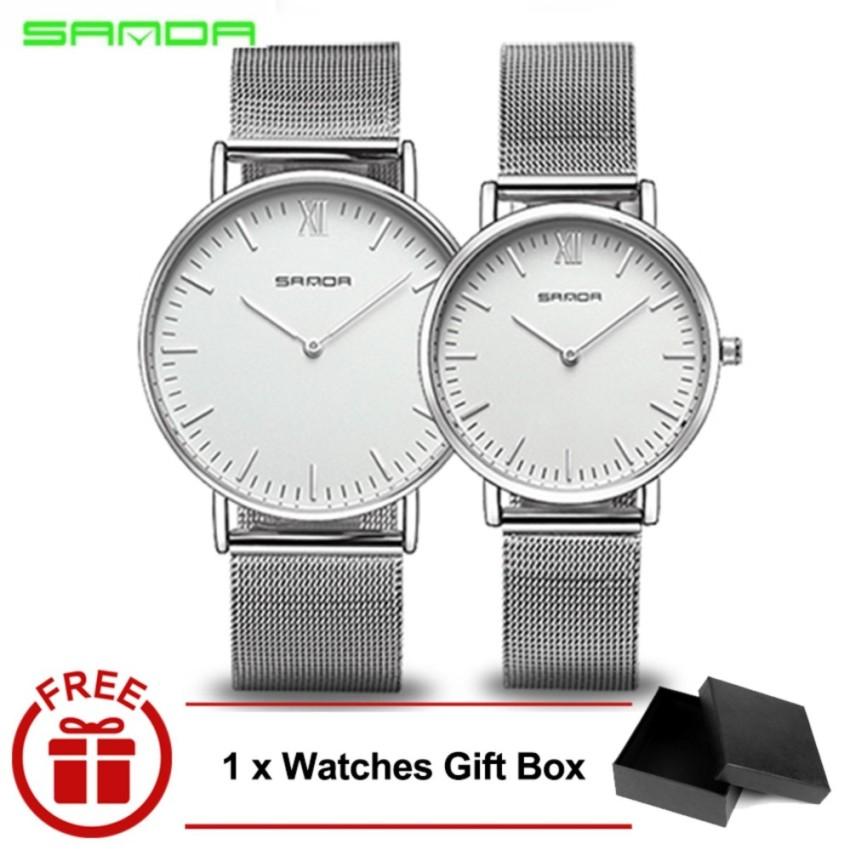 Original SANDA 208 Luxury Ultra Thin Stainless Steel Quartz Couple Watch (Silver White)
