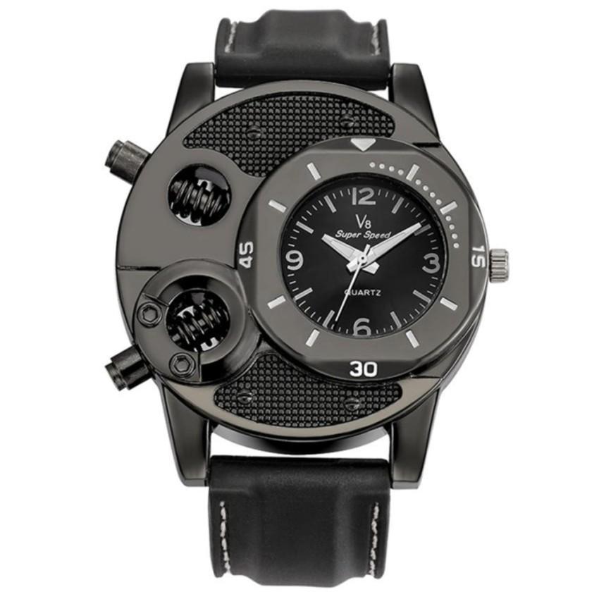 V6/V8 Cool Black Super Speed Men's Outdoor High Quality Analogue Date Quartz Watch (Gold / Black)