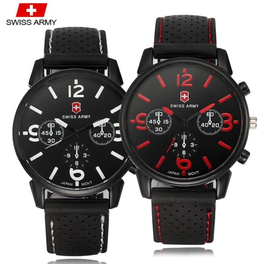 Swiss Army 1102 2in1 SET Military Men's Silicone Strap 3 Dial Display Fashion Sport Watch Bundle Set (Black White & Black Red)