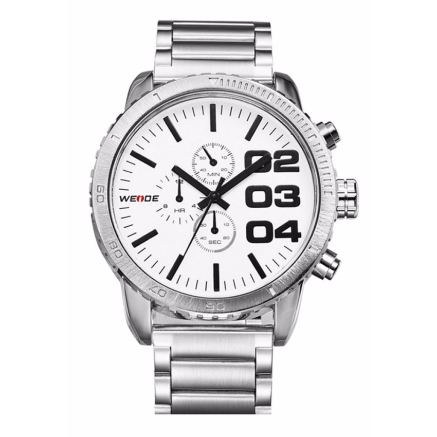 Weide WH3310 Men's Military Stainless Steel Watch (White)