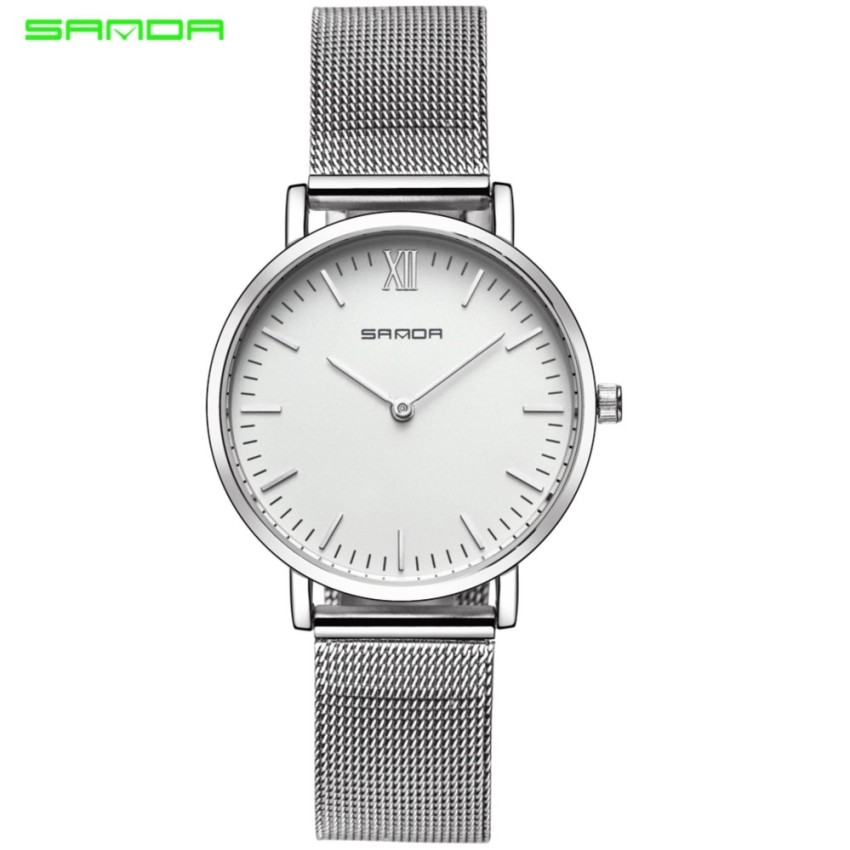 Original SANDA 208 Luxury Ultra Thin Stainless Steel Quartz Women Watch (Silver White)