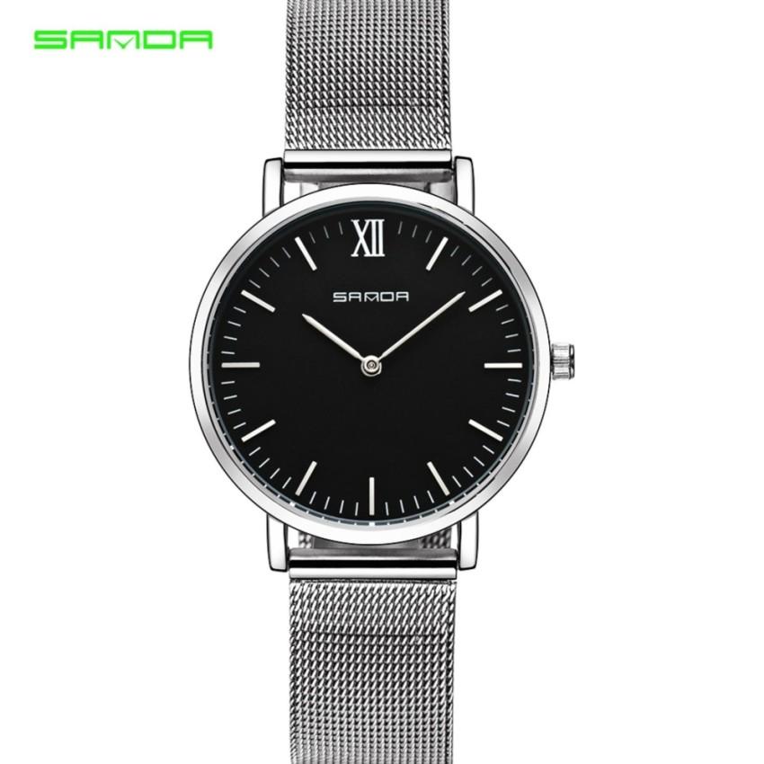 Original SANDA 208 Luxury Ultra Thin Stainless Steel Quartz Women Watch (Silver Back)
