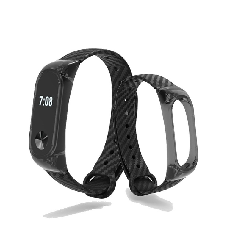 Replacement Crystal Frame Carbon Fiber Strap (Black) for Xiaomi Miband 2