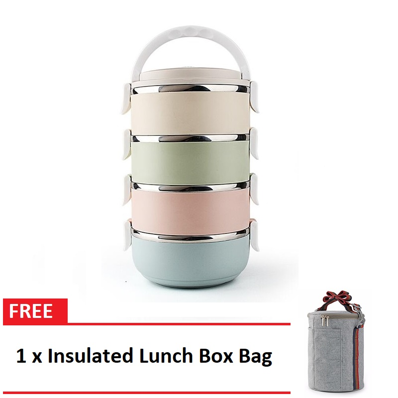 Multicolor 3/4 Layer Stainless Steel Lunch Box FREE Insulated Lunch Box Bag