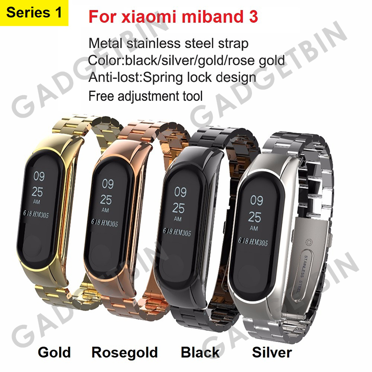 Replacement Stainless Steel Strap Leather Strap for Xiaomi Miband 3