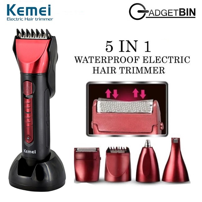 Kemei KM8058 Rechargeable 5 in 1 Cordless Waterproof Electric Hair Beard Nose Trimmer Clipper Hair Cutter Machine