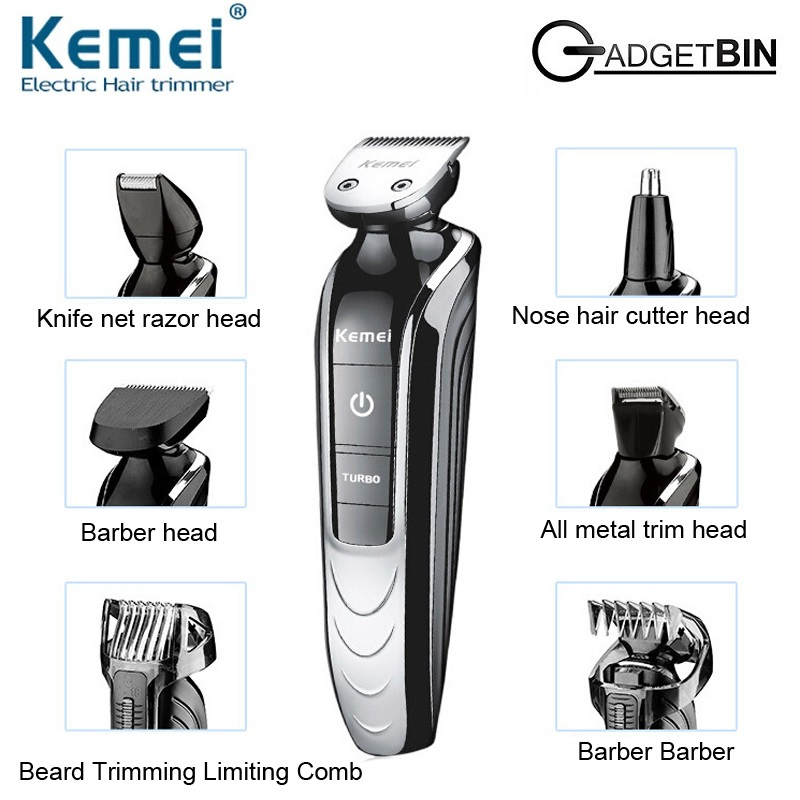 Kemei KM1832 5 in 1 Rechargeable Electric Men Shaver Clipper Groomer Trimmer Travel Set