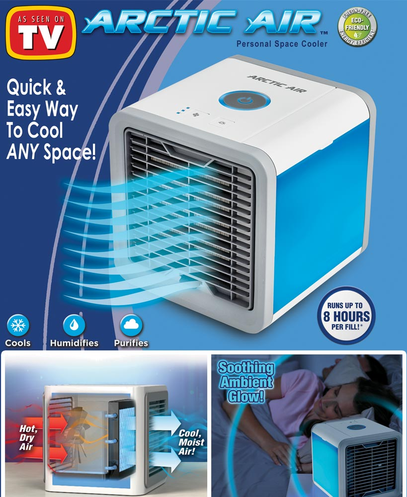 Arctic Air Personal Space Cooler Air Conditioner Humidifier 3 Speed LED Night Light Air Cooler Fan