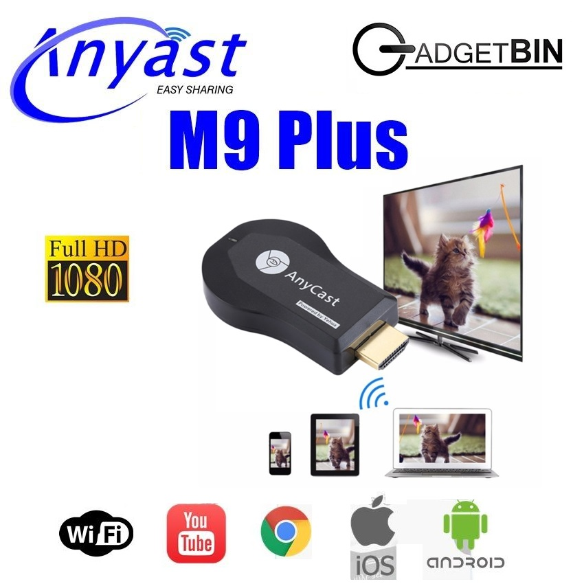 Anycast M9 PLUS WiFi Display Chromecast Miracast DLNA Airplay TV Dongle Latest Model Work with Google Home & Chrome