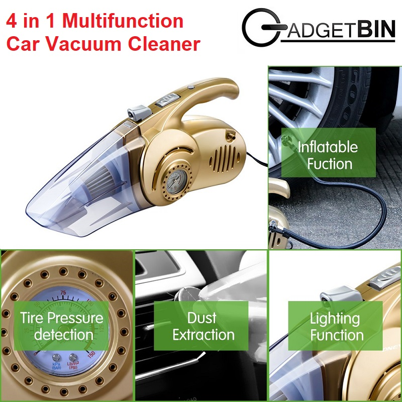 4 in 1 Multifunction LED Light 120W Handheld Car Vacuum Cleaner with Tire Inflator Pressure Gauge